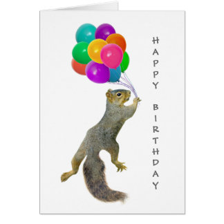 Squirrel with Balloons Happy Birthday Card