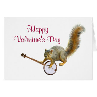 Squirrel with Banjo Valentine's Card