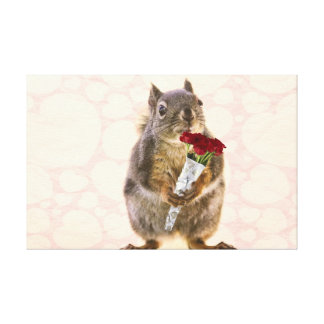 Squirrel with Bouquet of Red Roses Canvas Print