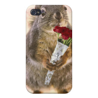 Squirrel with Bouquet of Red Roses Covers For iPhone 4