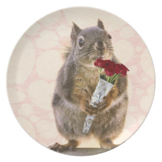 Squirrel with Bouquet of Red Roses Dinner Plate