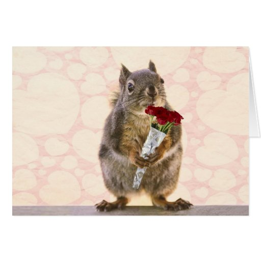 Squirrel with Bouquet of Red Roses Greeting Card