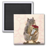Squirrel with Bouquet of Red Roses Magnet
