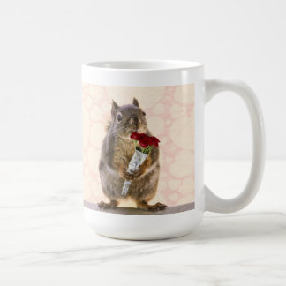 Squirrel with Bouquet of Red Roses Coffee Mugs