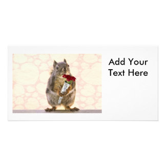 Squirrel with Bouquet of Red Roses Photo Card Template