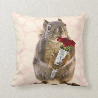 Squirrel with Bouquet of Red Roses Pillow