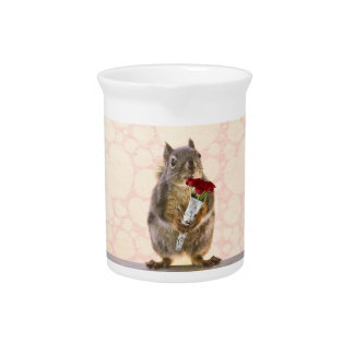 Squirrel with Bouquet of Red Roses Beverage Pitchers