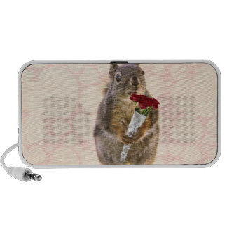 Squirrel with Bouquet of Red Roses Portable Speaker