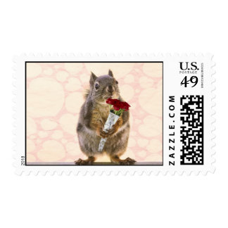 Squirrel with Bouquet of Red Roses Stamps