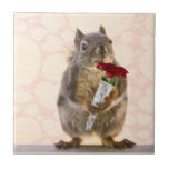 Squirrel with Bouquet of Red Roses Small Square Tile