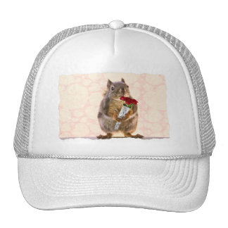 Squirrel with Bouquet of Red Roses Trucker Hat