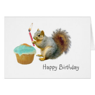 Squirrel with Candle Birthday Card