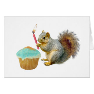 Squirrel with Candle Happy Birthday Card