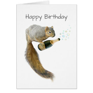 Squirrel with Champagne Birthday Card