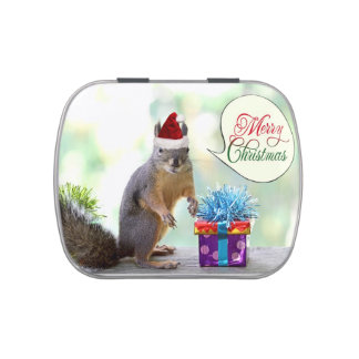 Squirrel with Christmas Presents Candy Tin