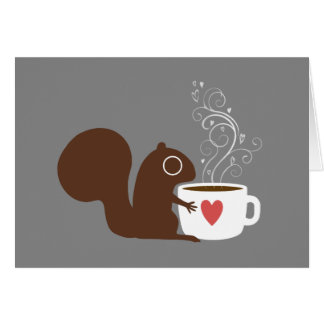Squirrel with Coffee Valentine Card