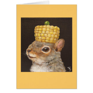 squirrel with corn and pea hat card