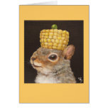 squirrel with corn and pea hat greeting card