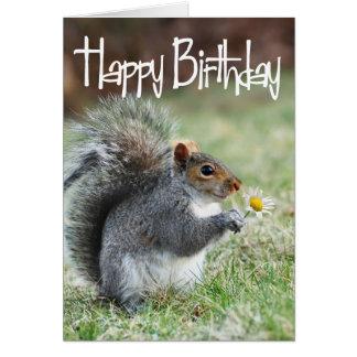 Squirrel with Daisy Happy Birthday Card