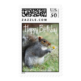 Squirrel with Daisy Happy Birthday Postage