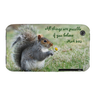 Squirrel with Daisy Mark 9:23 iPhone 3 Case