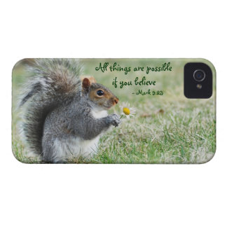 Squirrel with Daisy Mark 9:23 iPhone 4 ID Case iPhone 4 Case