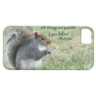 Squirrel with Daisy Mark 9:23 iPhone 5 ID Case iPhone 5 Cover
