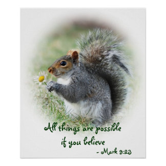 Squirrel with Daisy Mark 9:23 Poster