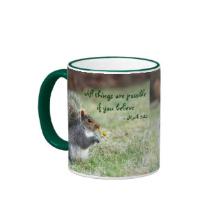 Squirrel with Daisy Mark 9:23 Verse Ringer Mug