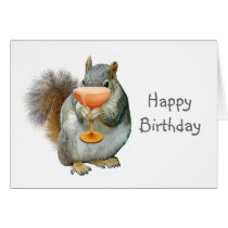 Squirrel with Drink Birthday Card