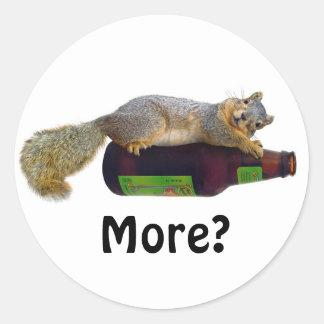 Squirrel with Empty Beer Bottle Classic Round Sticker