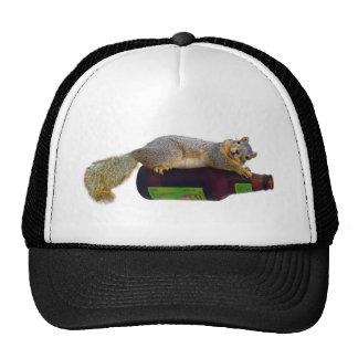 Squirrel with Empty Beer Bottle Mesh Hat