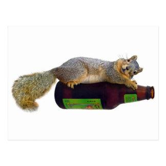 Squirrel with Empty Beer Bottle Postcard