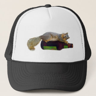 Squirrel with Empty Beer Bottle Trucker Hat
