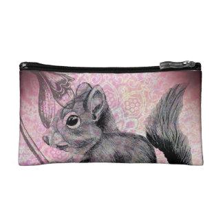 Squirrel with Flower Design by Carol Zeock Cosmetic Bag