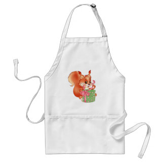 squirrel with gift adult apron