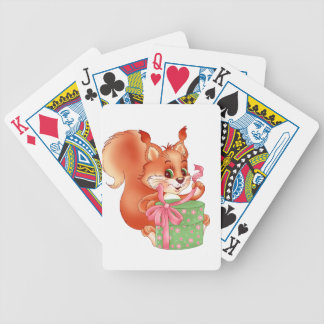 squirrel with gift bicycle playing cards
