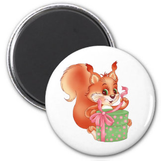 squirrel with gift fridge magnet