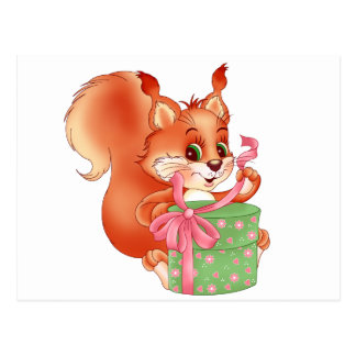 squirrel with gift postcard