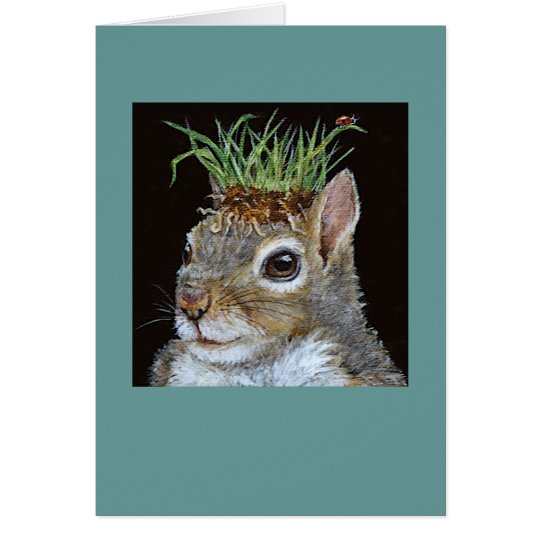 squirrel with grass clump card
