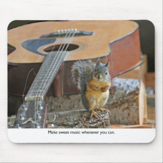 Squirrel with Guitar Mouse Pad