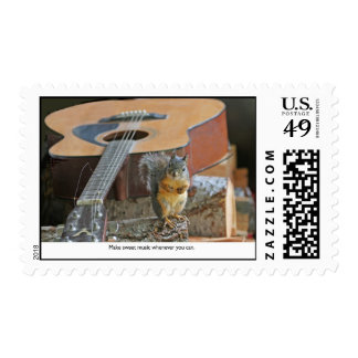 Squirrel with Guitar Stamp