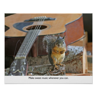 Squirrel with Guitar Poster