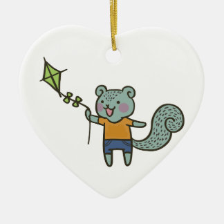 Squirrel With Kite Ceramic Ornament