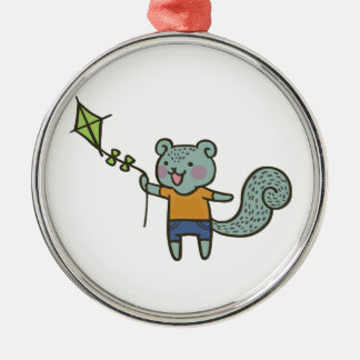 Squirrel With Kite Metal Ornament