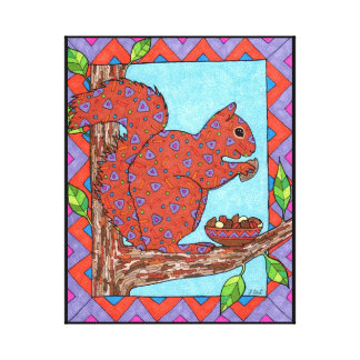 Squirrel with Mixed Nuts Oaxacan Style Folk Art Canvas Print
