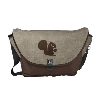 Squirrel with Nut Faux Linen Style Messenger Bag