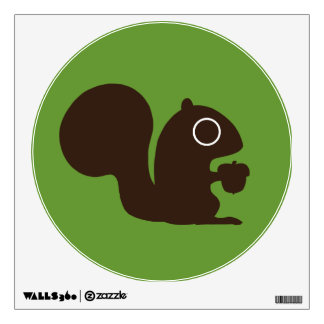 Squirrel with Nut on Green (Customizable) Wall Sticker