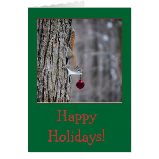 Squirrel with ornament Christmas greeting cards