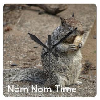 Squirrel with Peanut Nom Nom Square Wall Clock